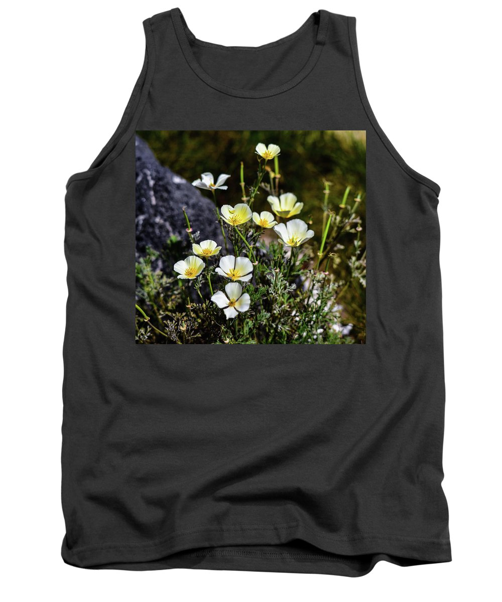 Linda Brody Tank Top featuring the photograph White And Yellow Poppies 1 by Linda Brody