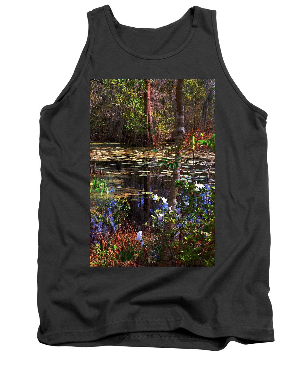 Swamp Tank Top featuring the photograph White Azaleas In The Swamp by Susanne Van Hulst