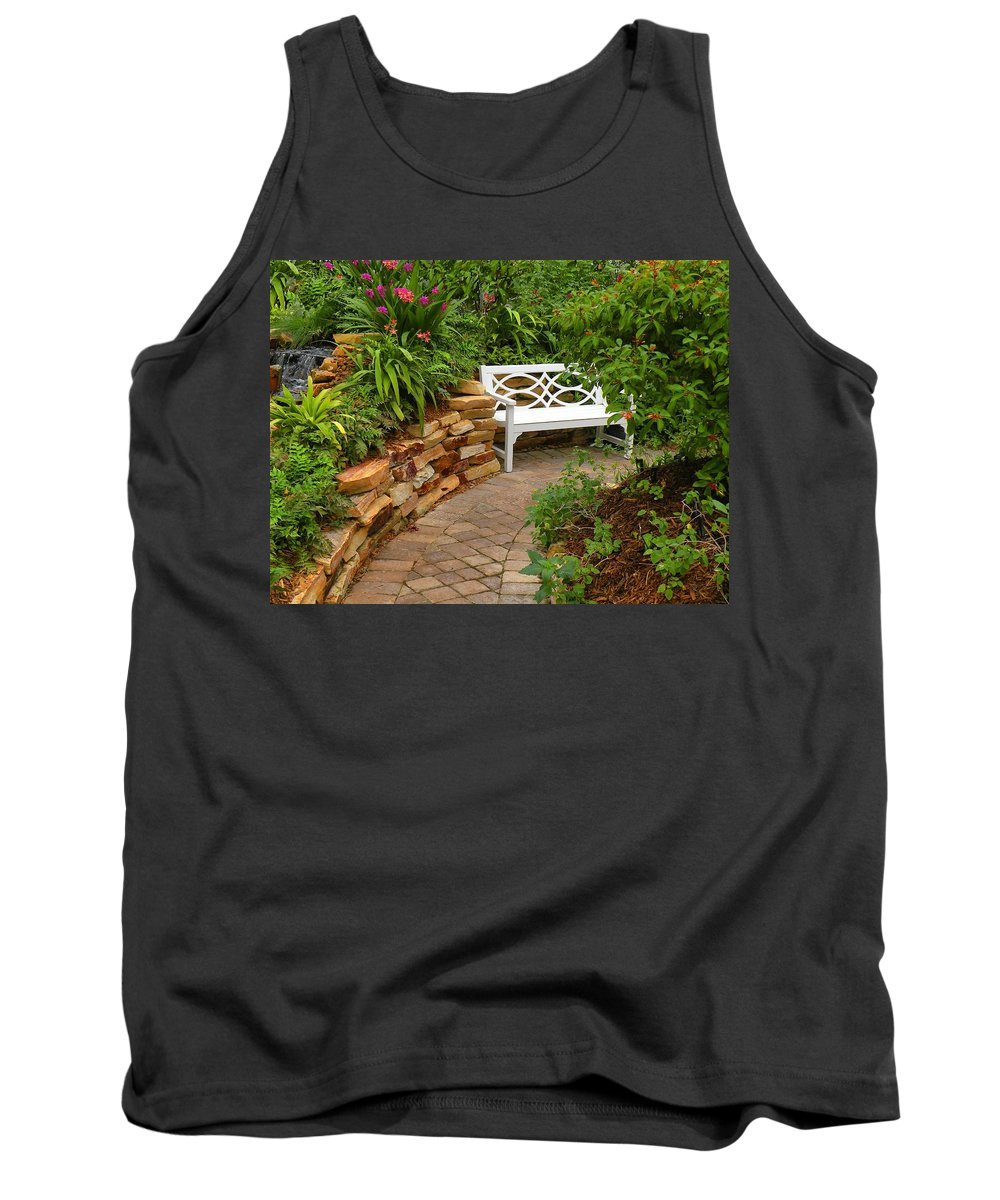 Garden Tank Top featuring the photograph White Bench In The Garden by Rosalie Scanlon