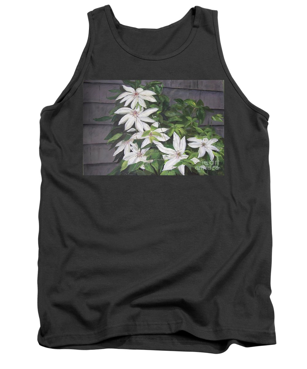 Floral Tank Top featuring the painting White Clematis by Elizabeth Ellis