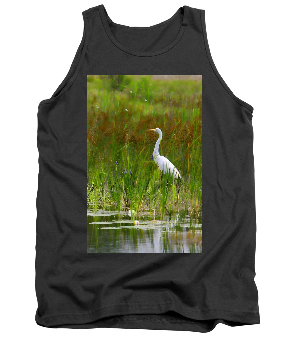 Bird Egret White Florida Swamp Pond Photograph Photography Tank Top featuring the photograph White Egret In Waiting by Shari Jardina