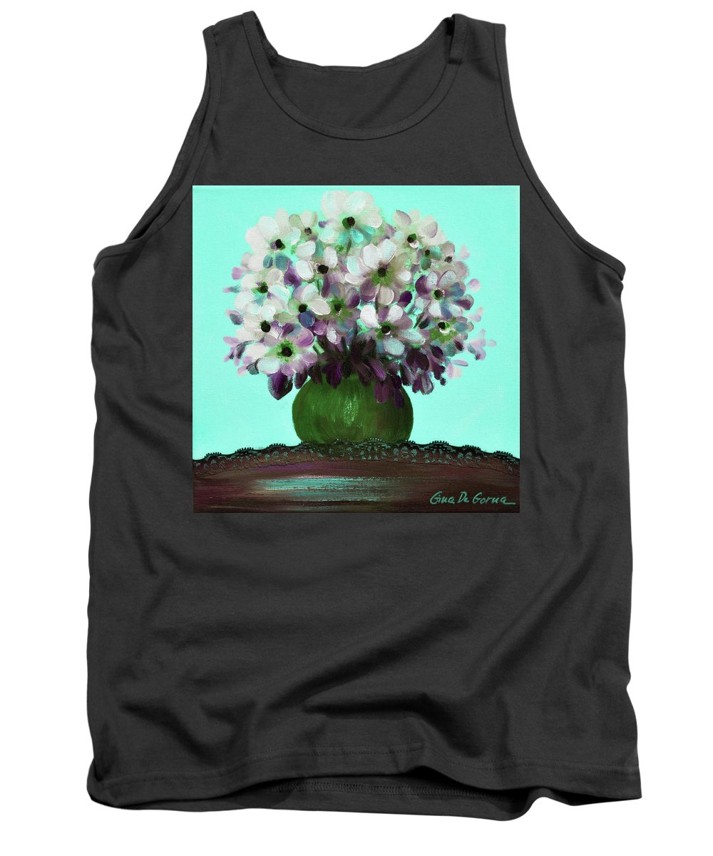 Floral Tank Top featuring the painting White Flowers In A Vase by Gina De Gorna