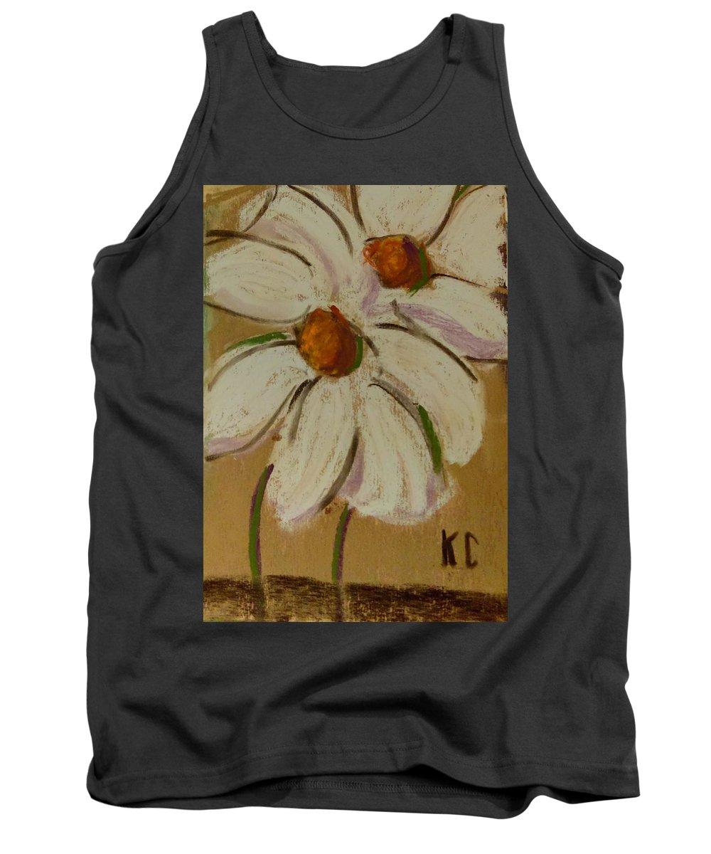 Art Tank Top featuring the pastel White Flowers by Katherine Cobb