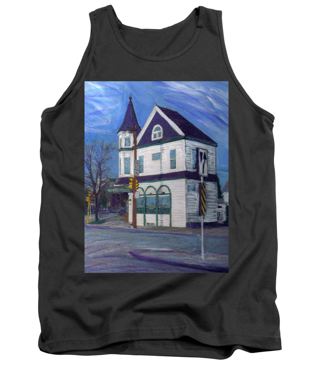 White House Tavern Tank Top featuring the mixed media White House Tavern by Anita Burgermeister