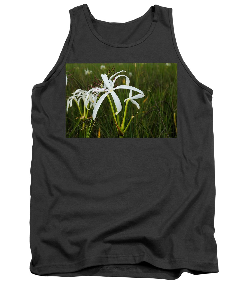 Lily Tank Top featuring the photograph White Lilies In Bloom by Christopher L Thomley