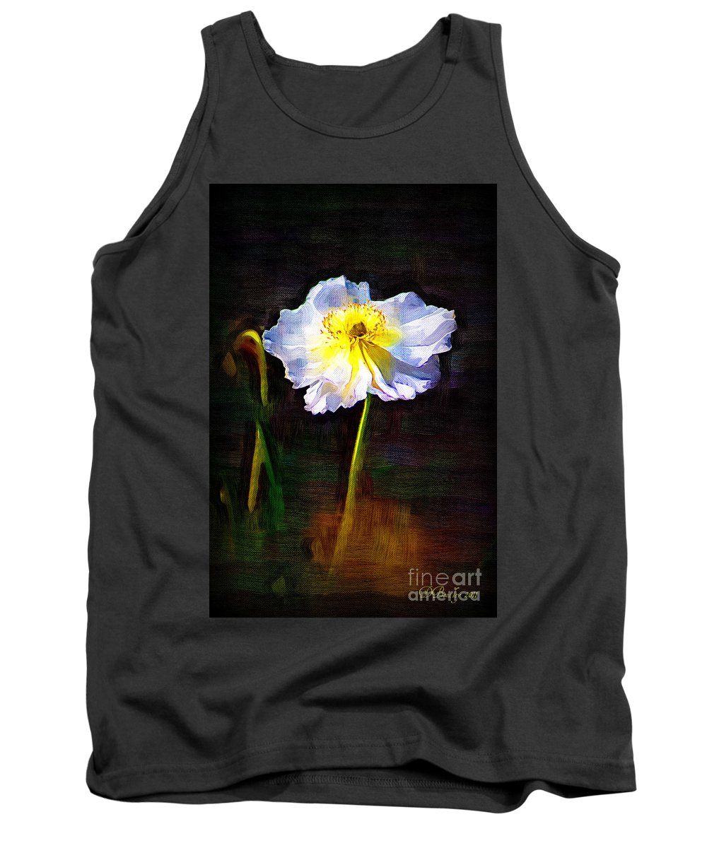 White Poppy Tank Top featuring the photograph White Poppy by Donna Bentley