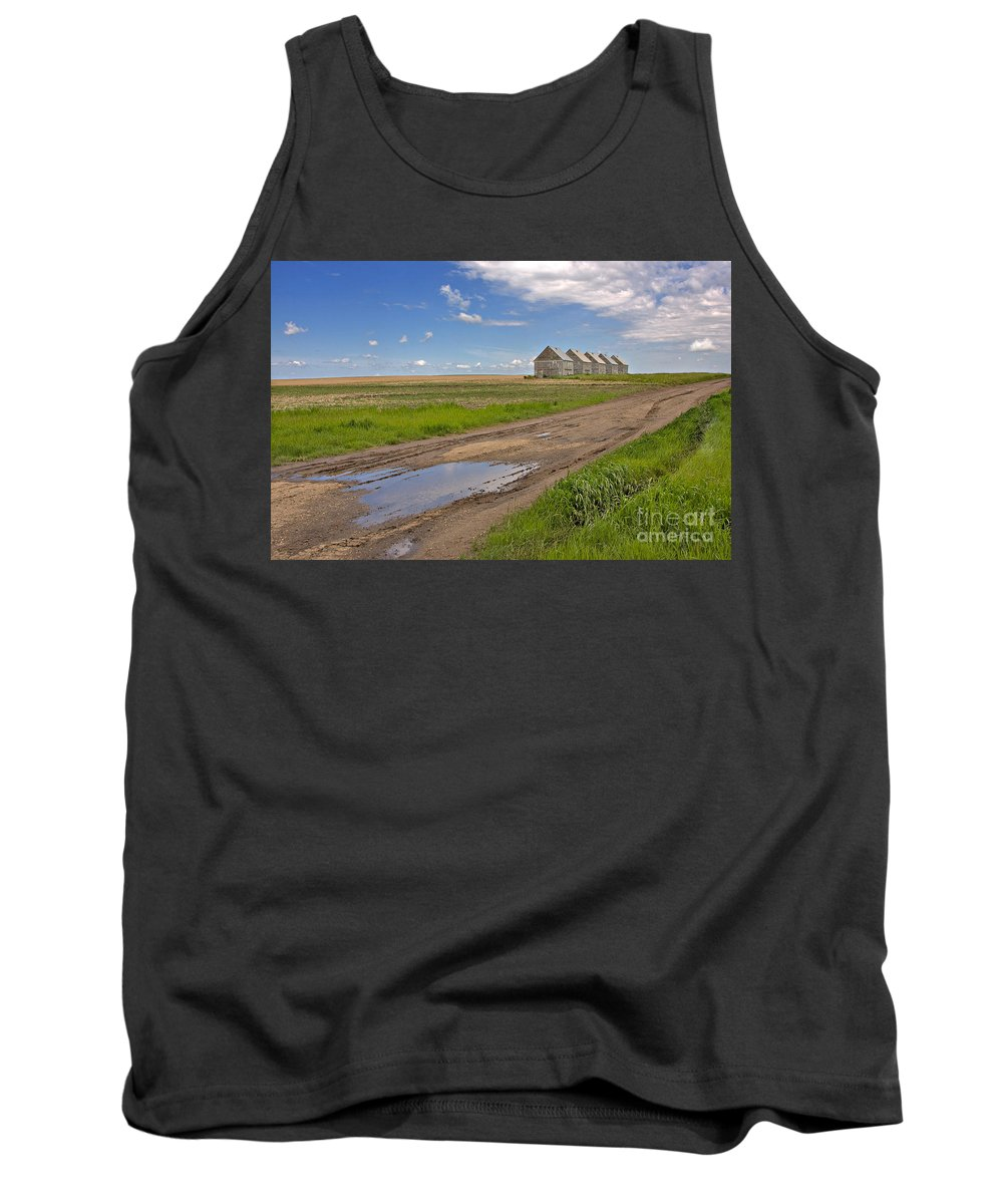 Landscape Tank Top featuring the photograph White Sheds On A Prairie Farm In Spring by Louise Heusinkveld