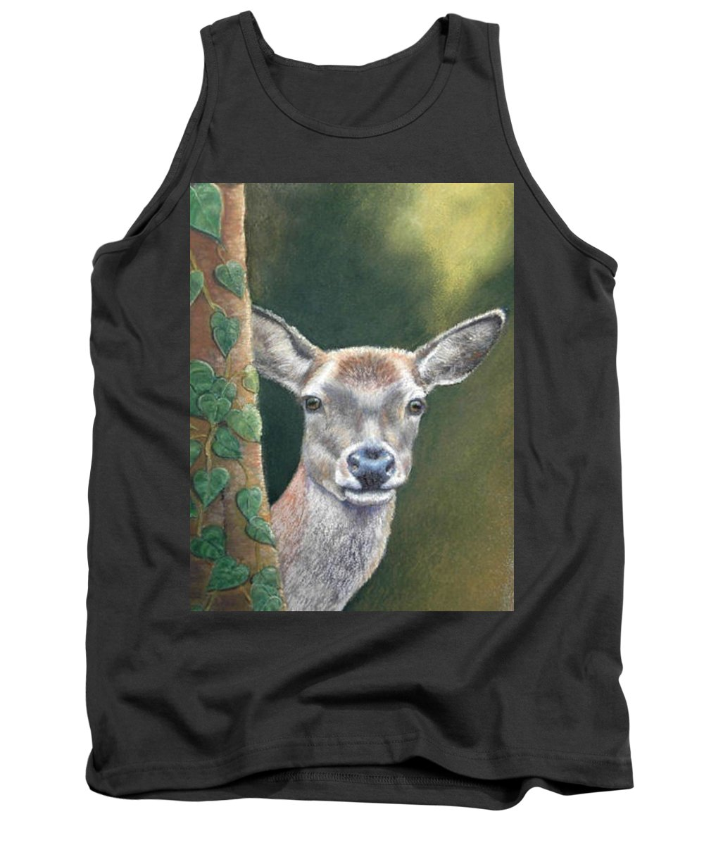 Rainforest Tank Top featuring the painting White Tail Doe At Ancon Hill by Ceci Watson