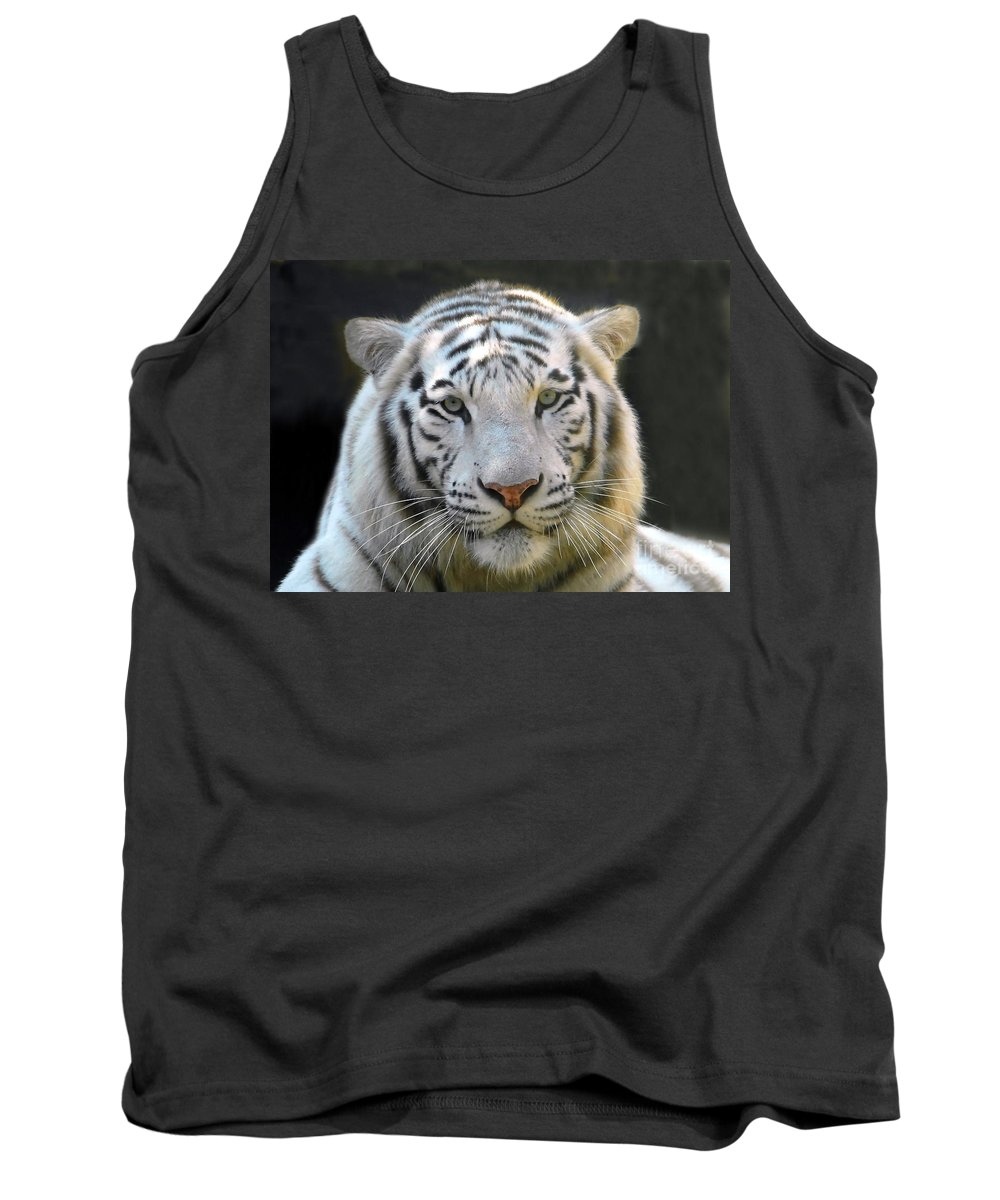 White Tiger Tank Top featuring the photograph White Tiger by David Lee Thompson