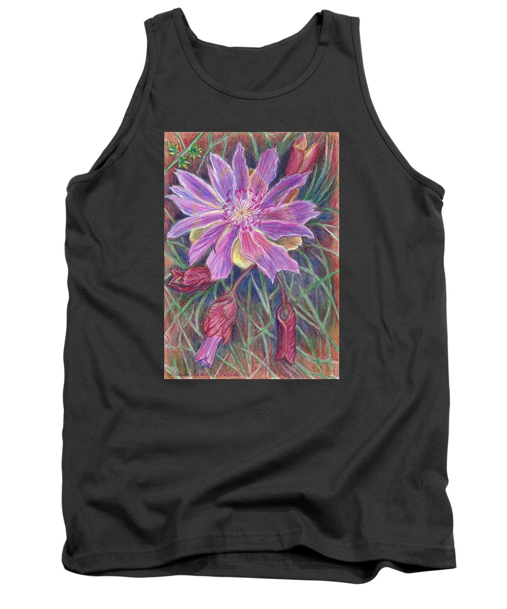 Floral Tank Top featuring the drawing Wild Bitterroot Flower by Dawn Senior-Trask
