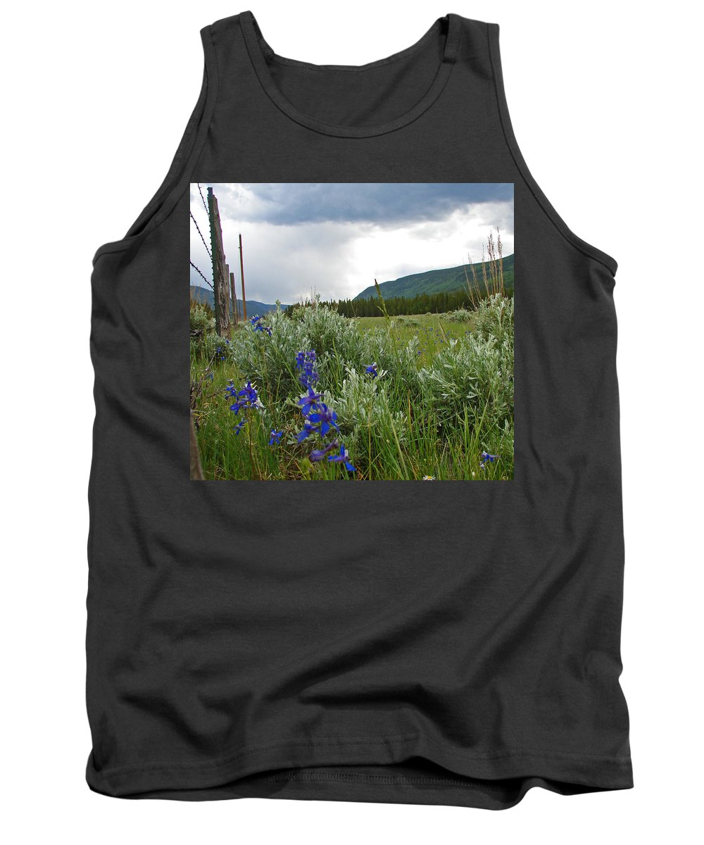 Wild Flowers Tank Top featuring the photograph Wild Delphinium by Heather Coen