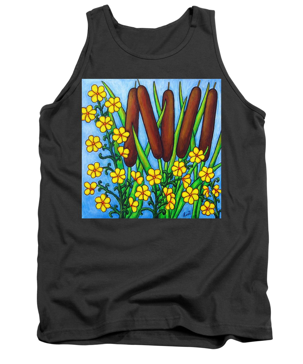 Cat Tails Tank Top featuring the painting Wild Medley by Lisa Lorenz