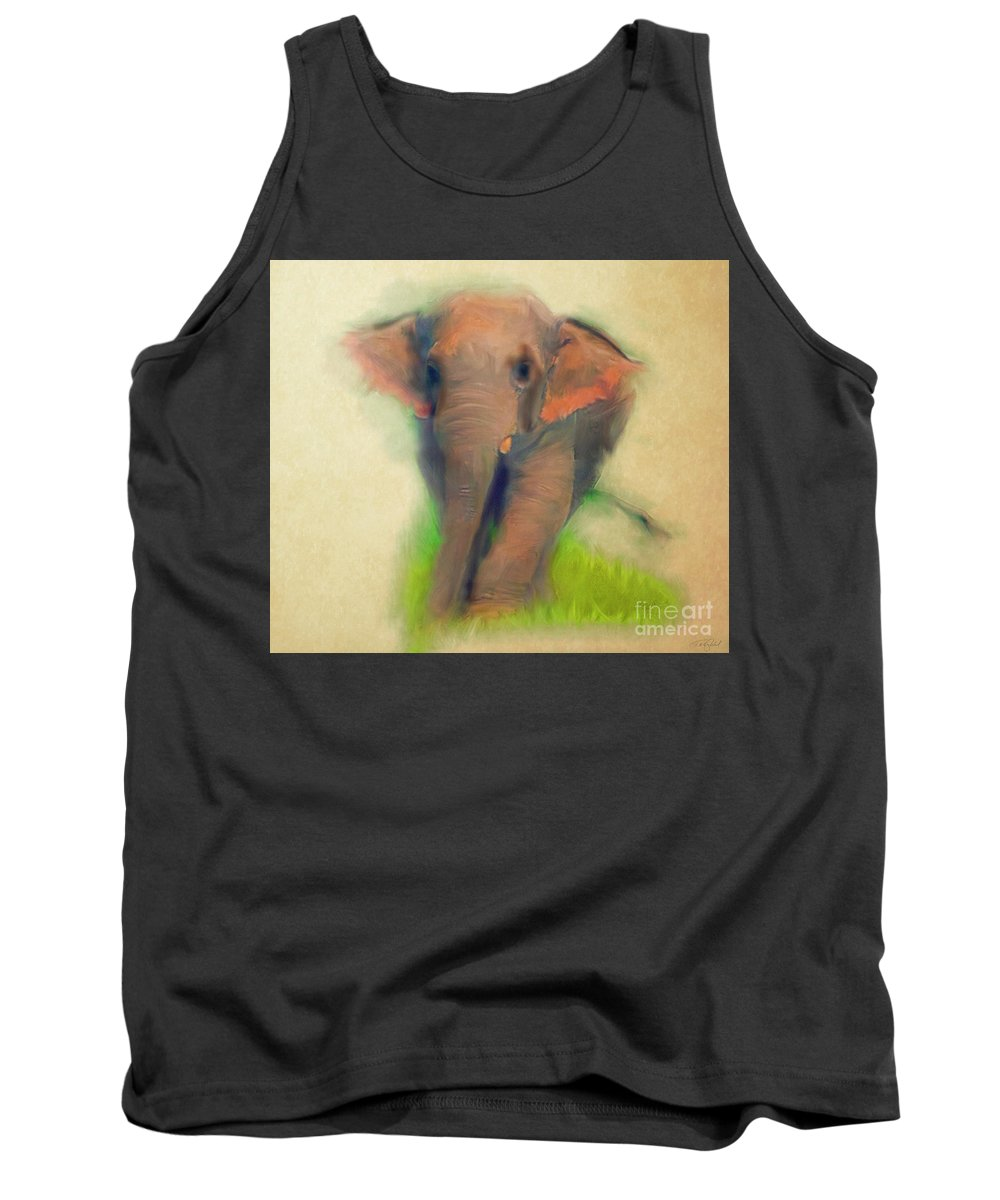 Wild Tank Top featuring the painting Wild Thai Elephant by Ted Guhl
