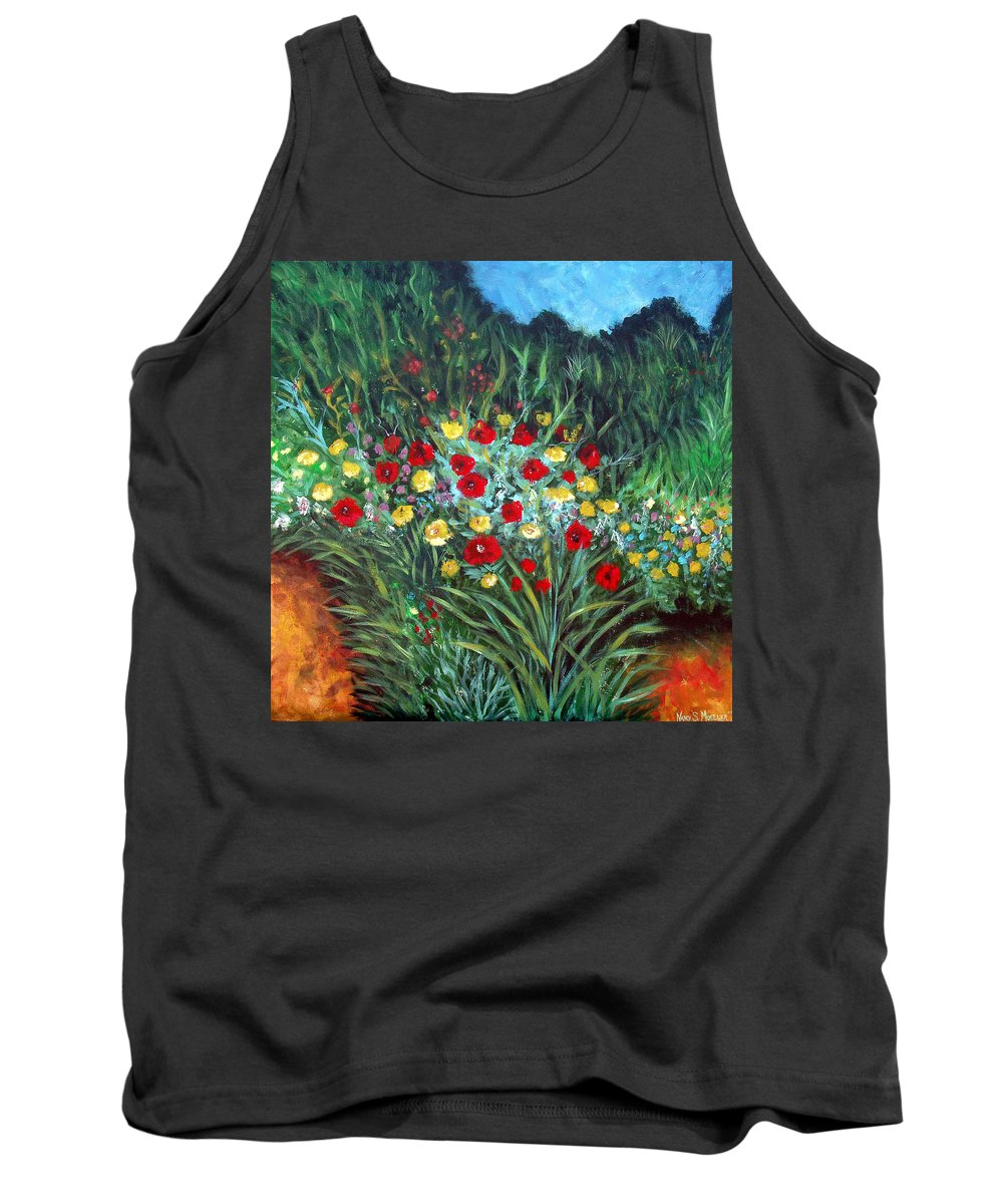 Abstract Tank Top featuring the painting Wildflower Garden 1 by Nancy Mueller