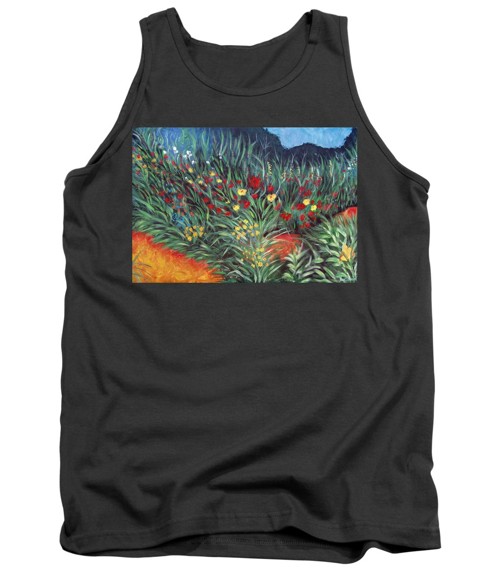 Landscape Tank Top featuring the painting Wildflower Garden 2 by Nancy Mueller