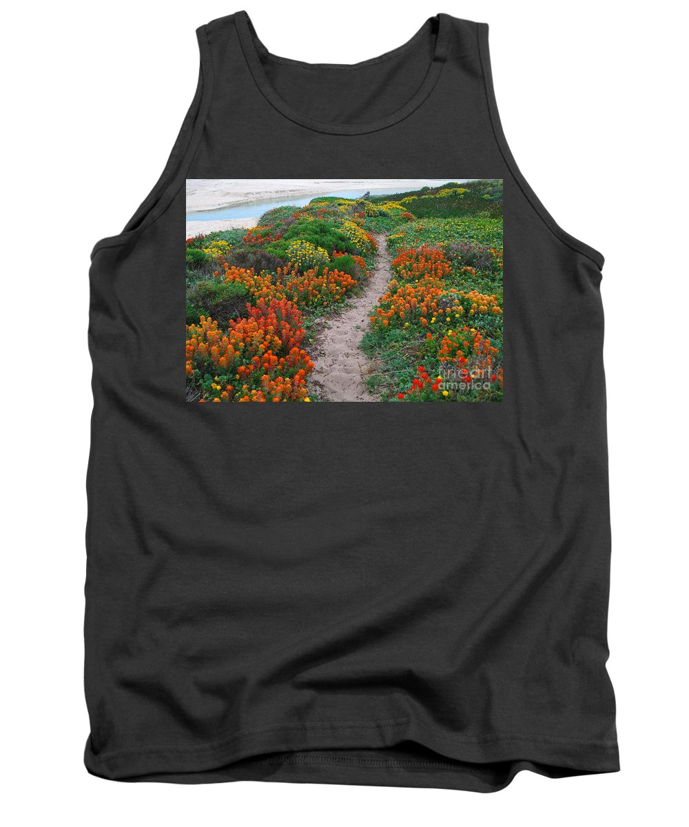 Wildflower Tank Top featuring the photograph Wildflower Path at Ribera Beach by Charlene Mitchell