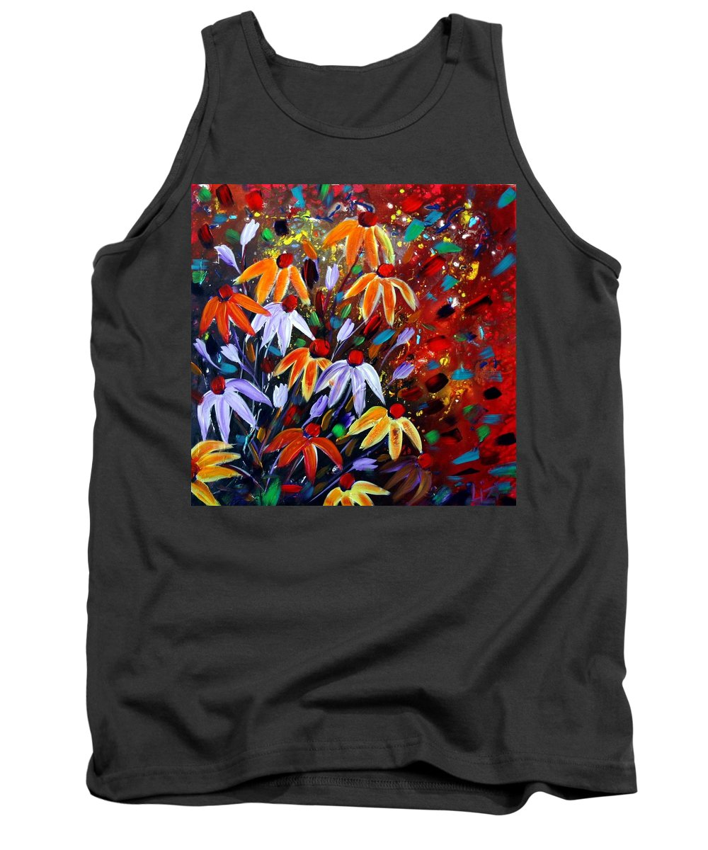 Flowers Tank Top featuring the painting Wildflowers At Sunset by Luiza Vizoli