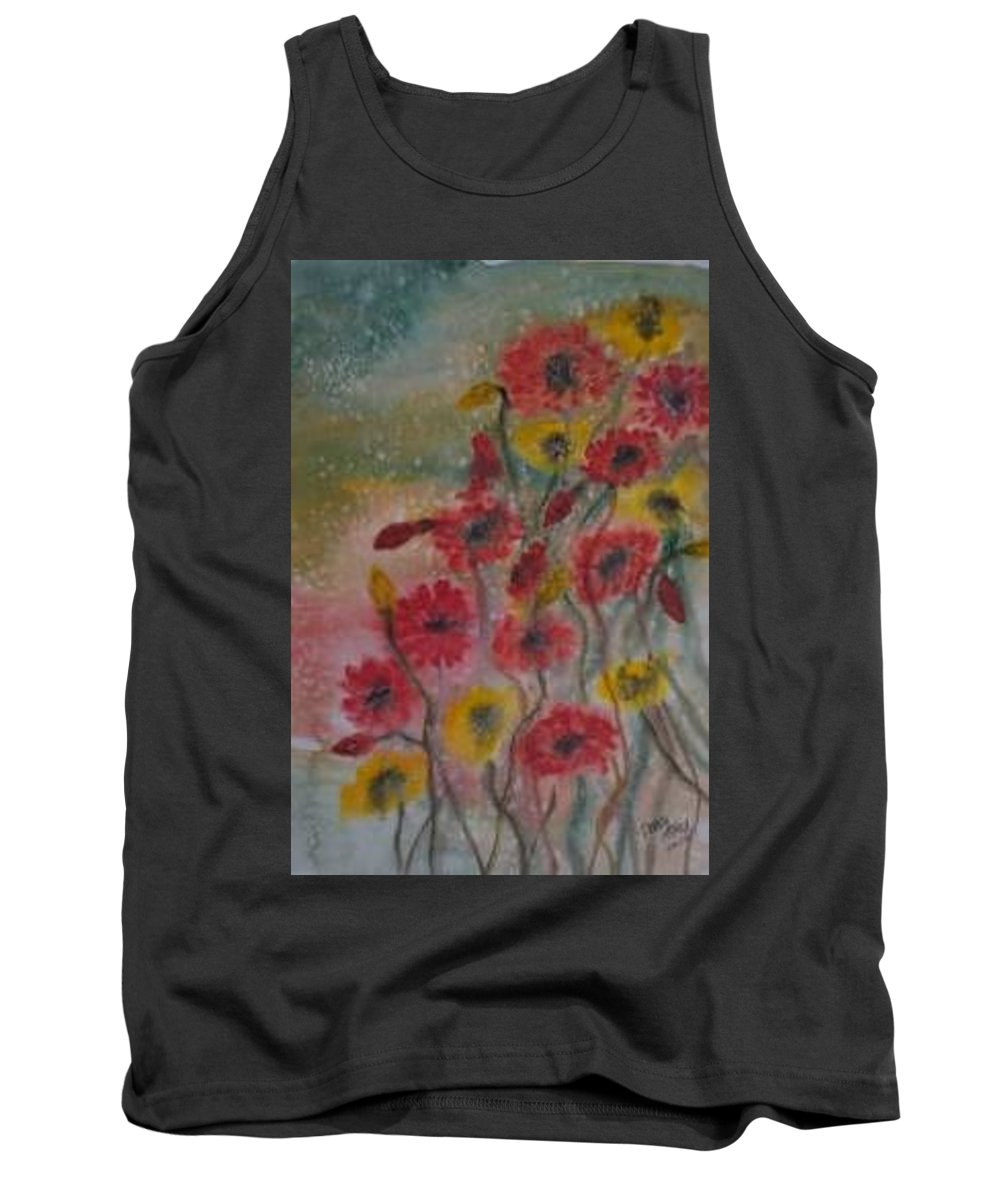 Watercolor Tank Top featuring the painting Wildflowers Still Life Modern Print by Derek Mccrea