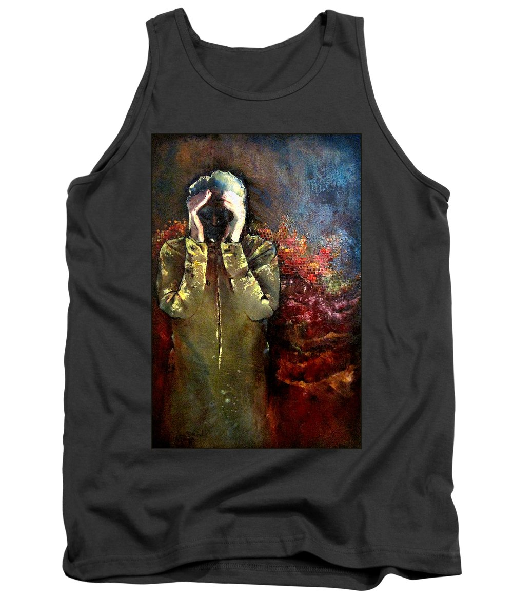 Heartbreak Tank Top featuring the painting Willful Amnesia by Shadia Derbyshire