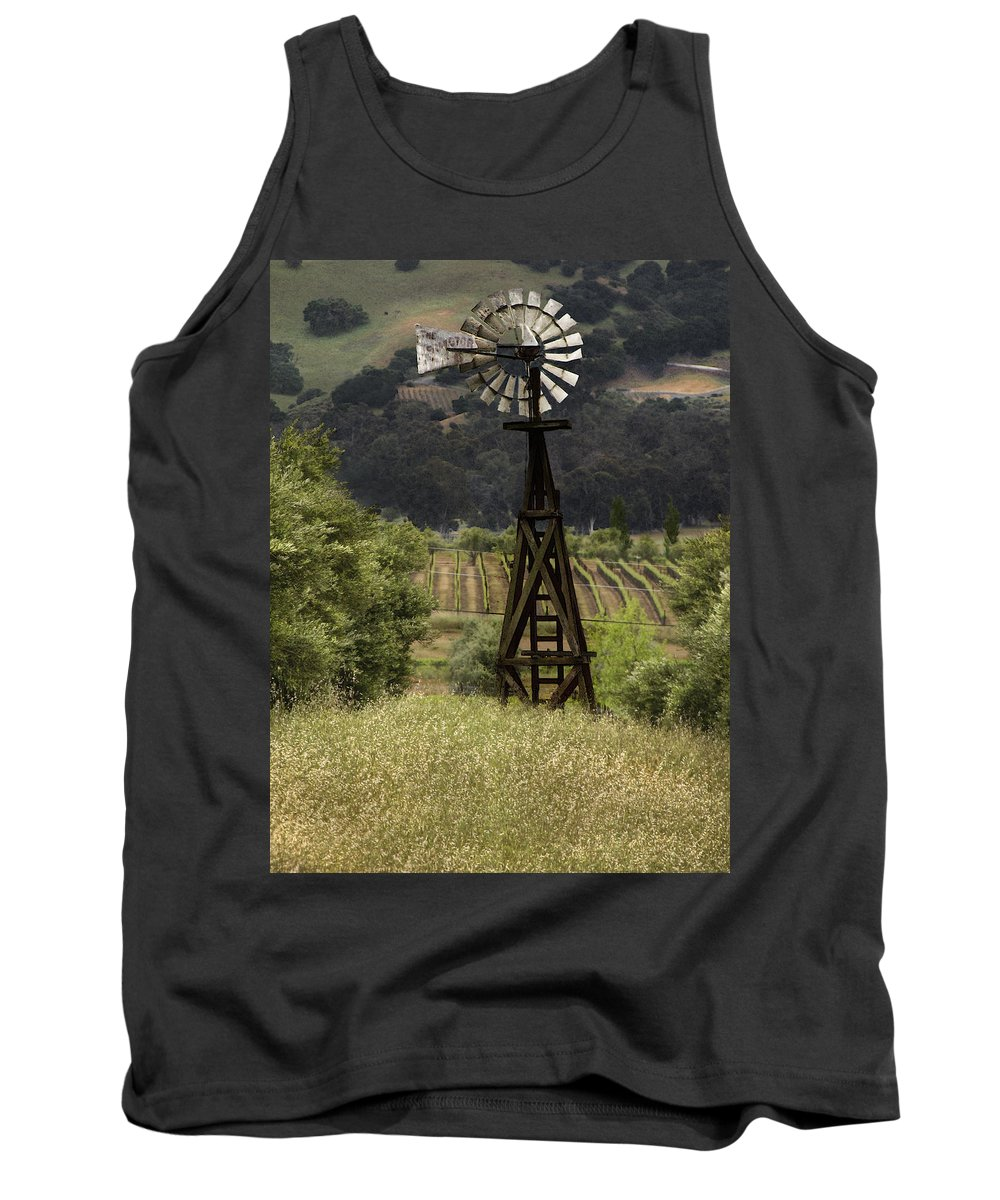 Landscape Tank Top featuring the photograph Windmill And Vineyards by Karen W Meyer
