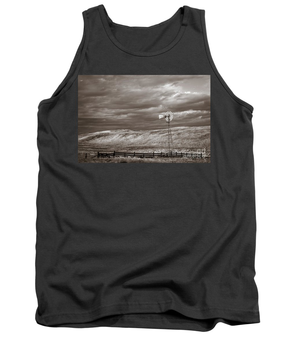 Windmill Tank Top featuring the photograph Windmill Sepia by Anthony Bonafede