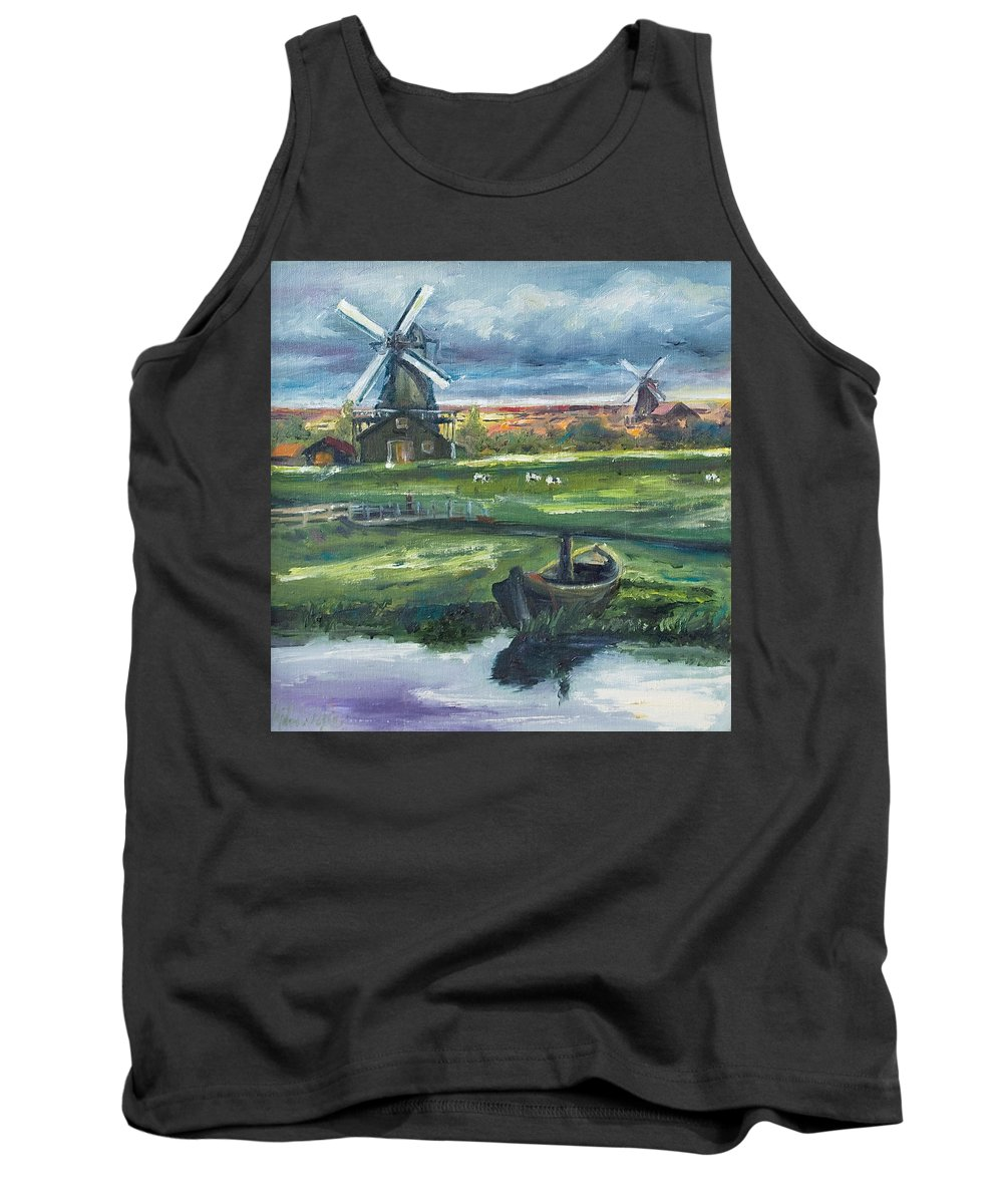 Water Tank Top featuring the painting Windmills by Rick Nederlof