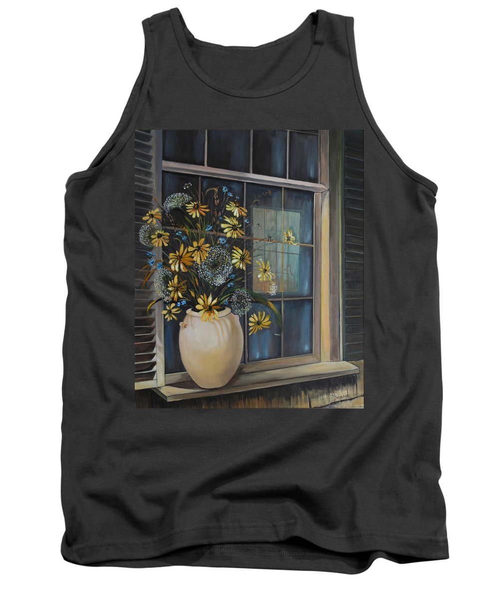Wild Flowers Tank Top featuring the painting Window Dressing - Lmj by Ruth Kamenev