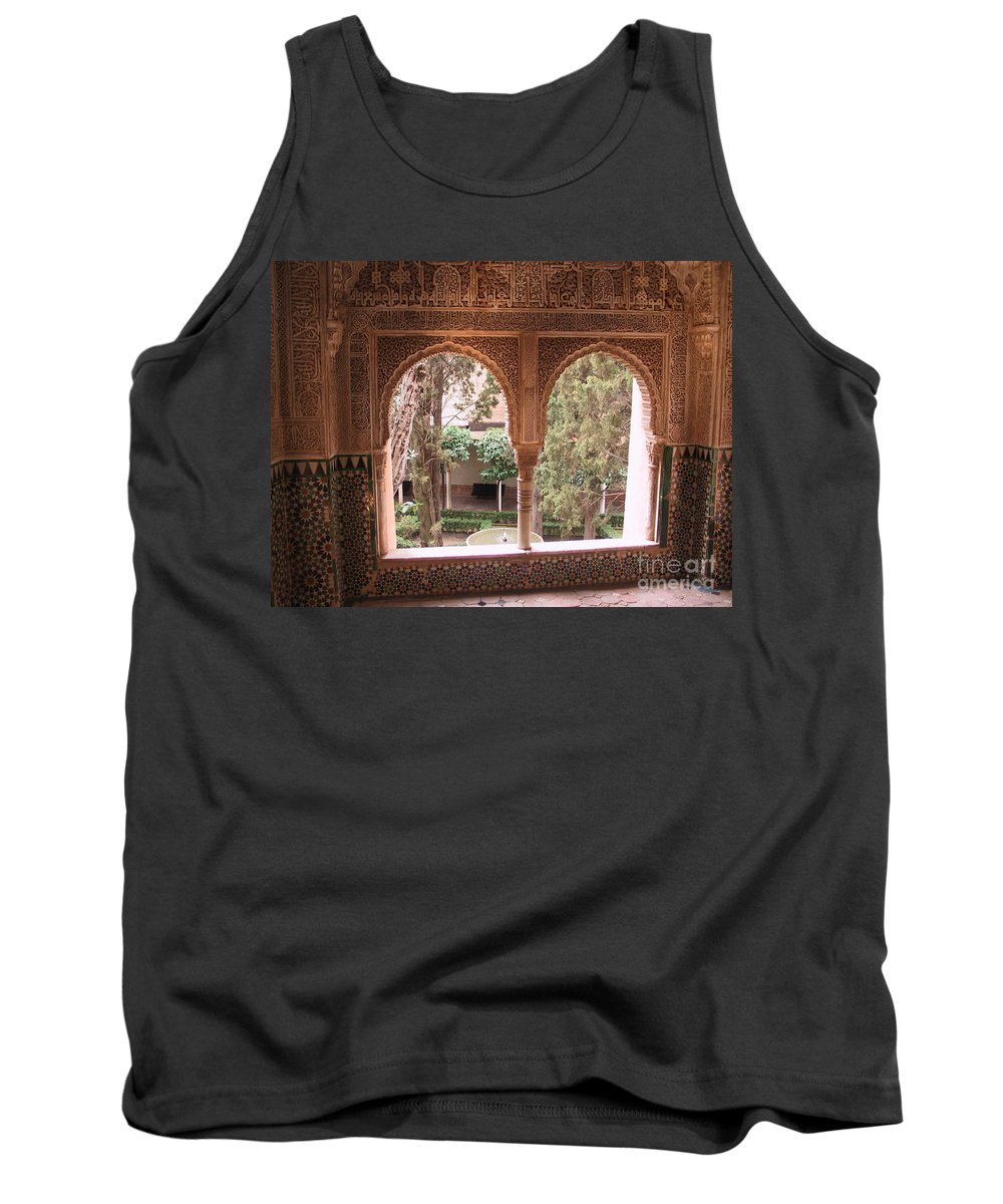 Window Tank Top featuring the photograph Window In La Alhambra by Thomas Marchessault