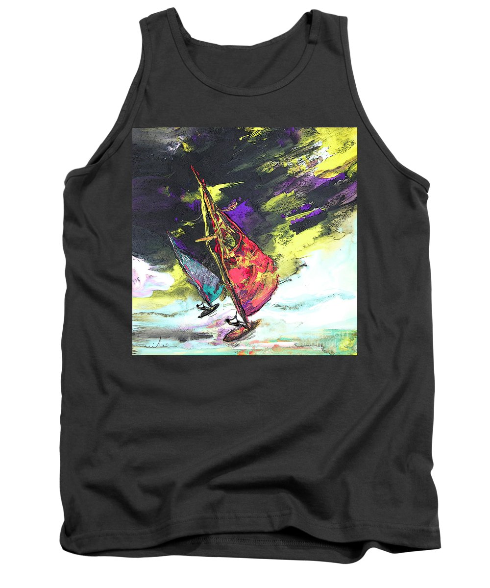 Acrylics Tank Top featuring the painting Windsurf Impression 01 by Miki De Goodaboom
