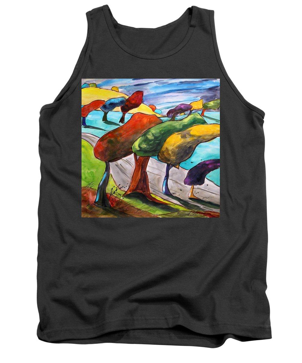 Morning Tank Top featuring the painting Windswept Morning by John Williams
