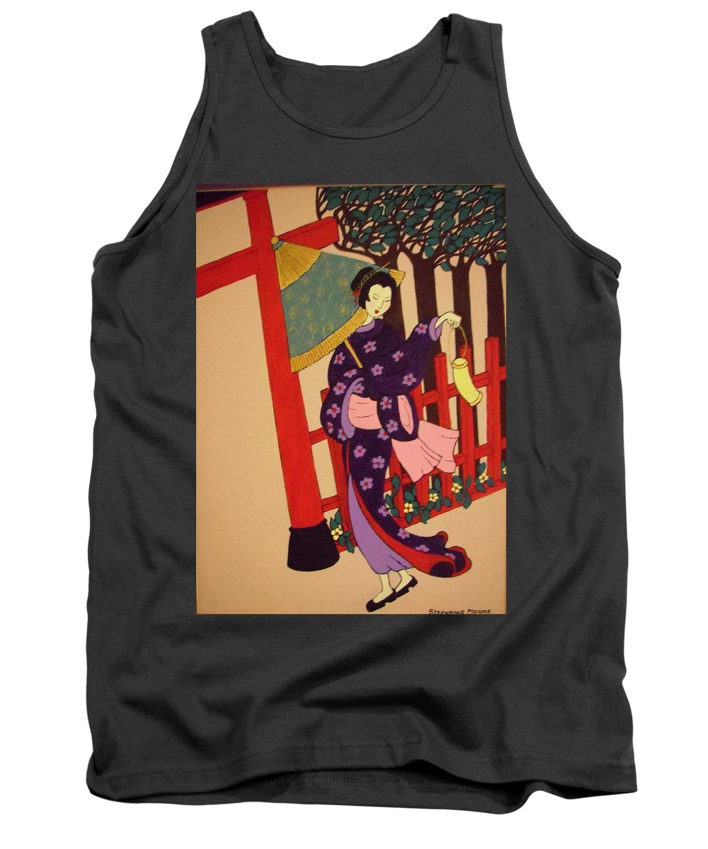 Geisha Tank Top featuring the painting Windy Day by Stephanie Moore