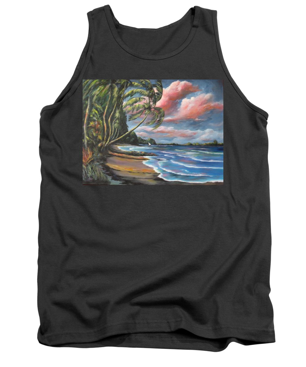 Blue Tank Top featuring the painting Windy by Melody Horton Karandjeff