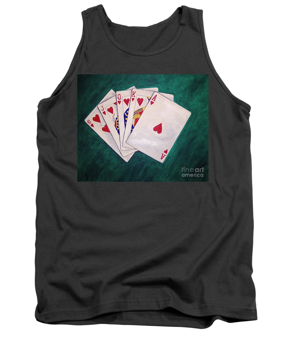 Playing Cards Wining Hand Role Flush Tank Top featuring the painting Wining Hand 2 by Herschel Fall