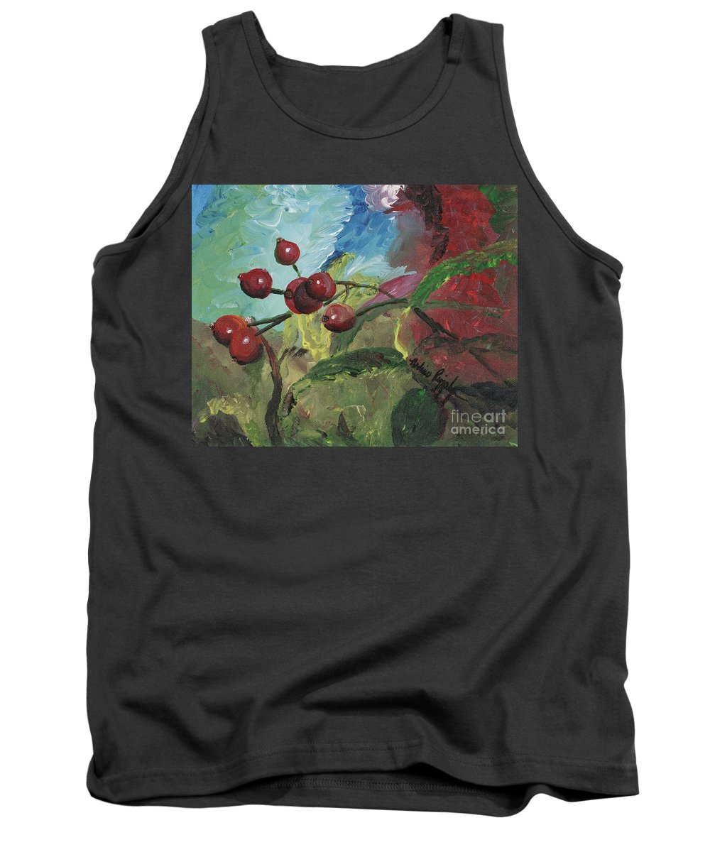 Berries Tank Top featuring the painting Winter Berries by Nadine Rippelmeyer