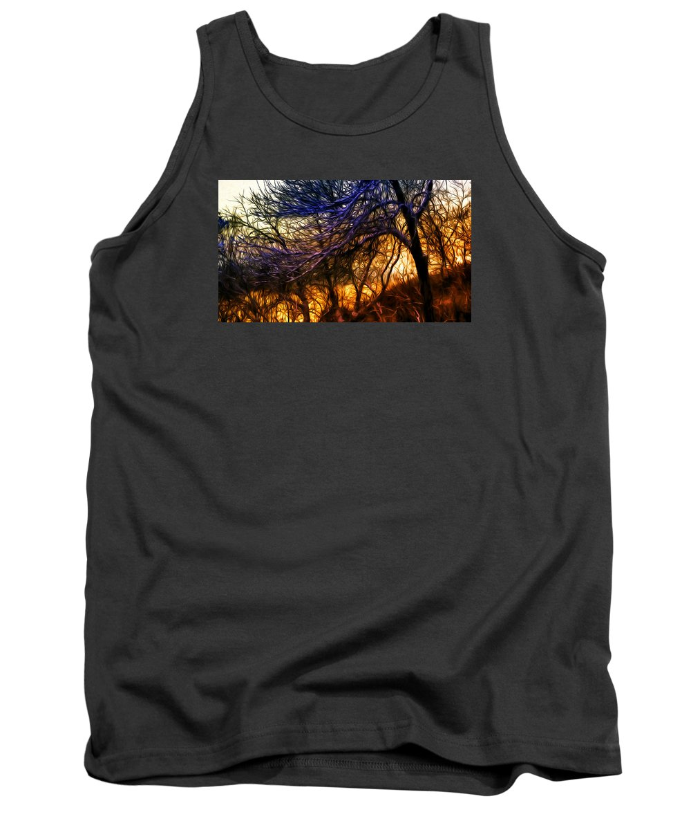 Winter Forest Tank Top featuring the photograph Winter Forest Sunset Oil Style by John Williams