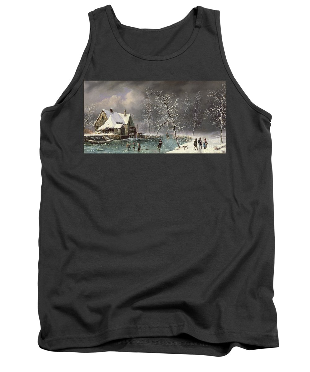 Winter Scene By Louis Claude Mallebranche (1790-1838) Tank Top featuring the painting Winter Scene by Louis Claude Mallebranche