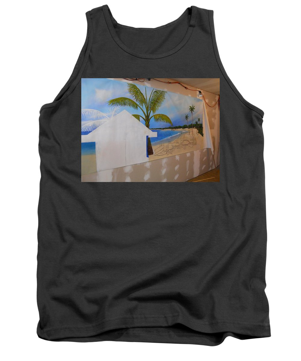 Tank Top featuring the painting Wip 02- Tyler's Room by Cindy D Chinn