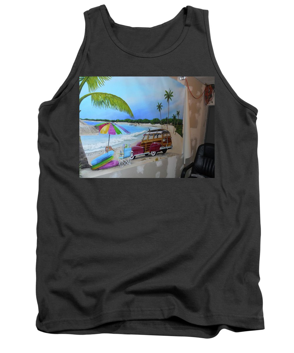 Tank Top featuring the painting Wip 03- Tyler's Room by Cindy D Chinn