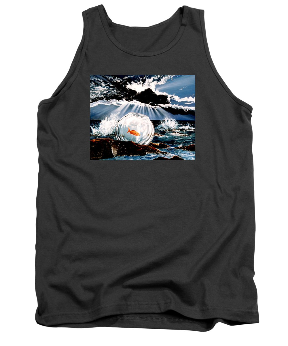 Surreal Tank Top featuring the painting Wish You Were Here by Mark Cawood