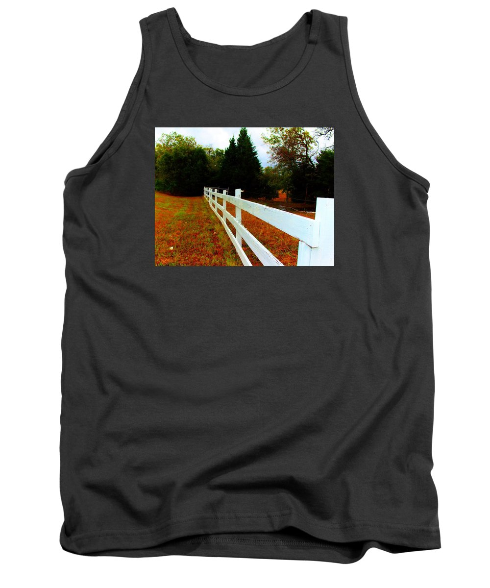 White Fense Tank Top featuring the photograph Wodden Fence by Christine Townsend