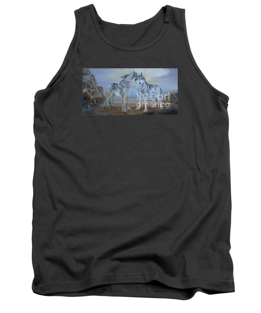 2 Wolves Tank Top featuring the painting Wolf Howl by Reveille Kennedy