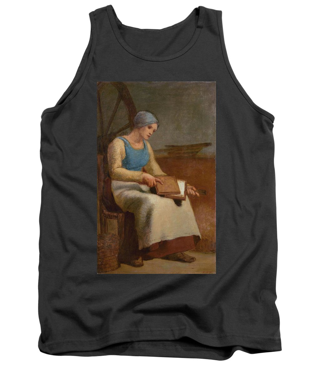 Barbizon School Tank Top featuring the painting Woman Carding Wool by Jean-Francois Millet