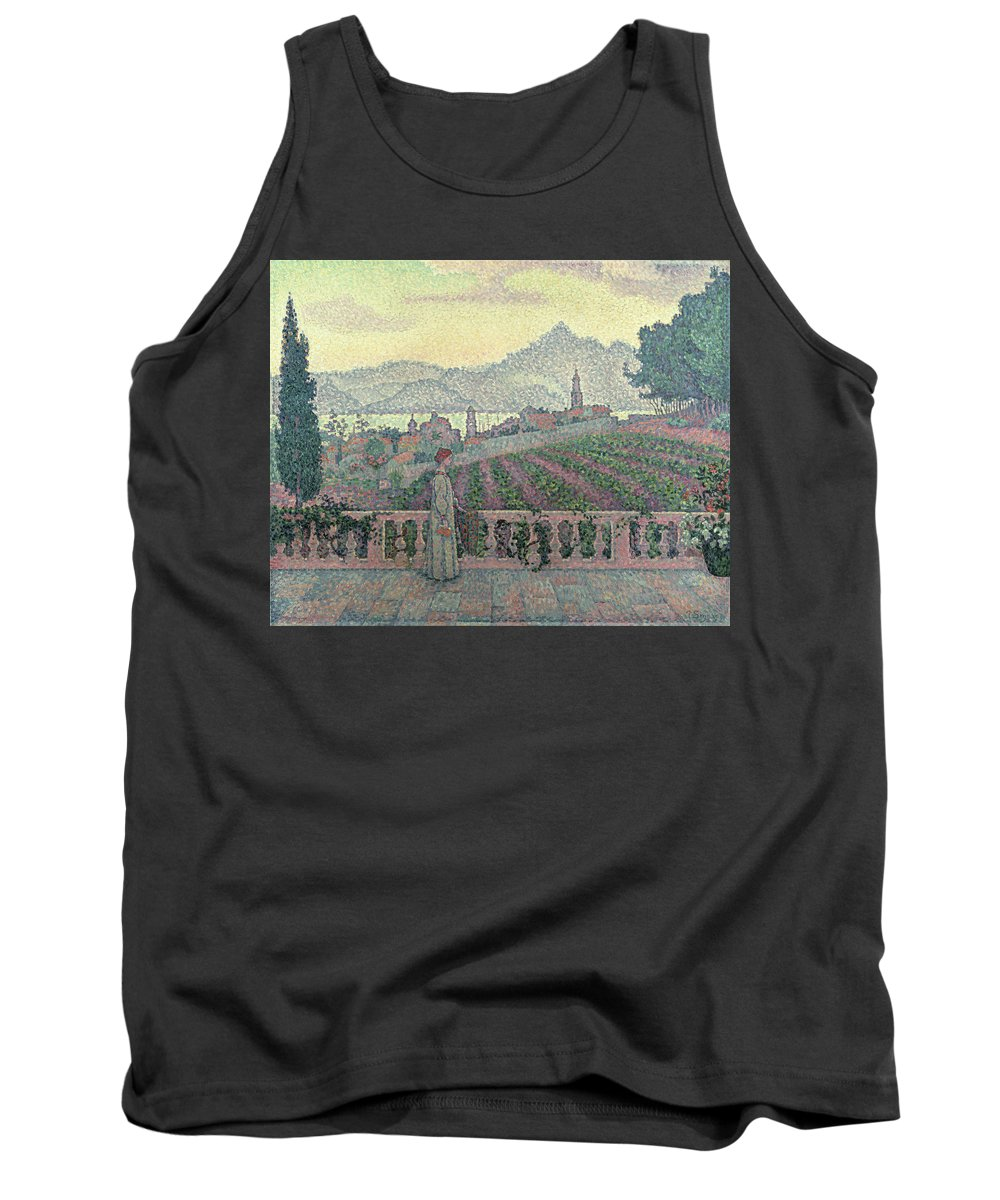 Woman Tank Top featuring the painting Woman On The Terrace by Paul Signac