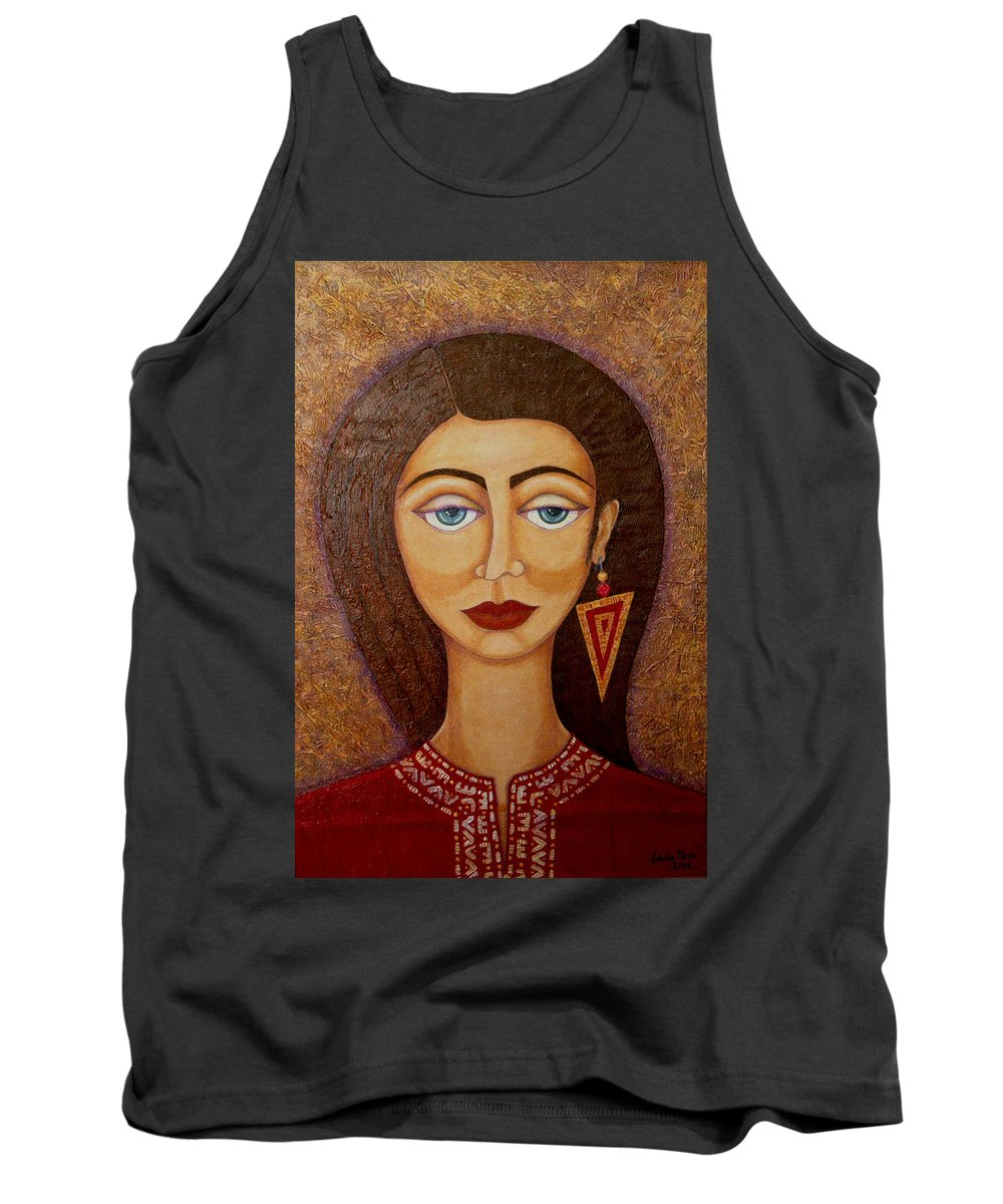 Market Tank Top featuring the painting Woman S Market by Madalena Lobao-Tello