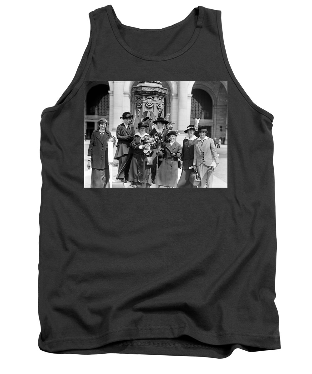 womans Suffrage Tank Top featuring the photograph Woman Suffrage - Political Campaign Rose Winslow - Lucy Burns - Doris Stevens - Ruth Astor Noyes Etc by International Images