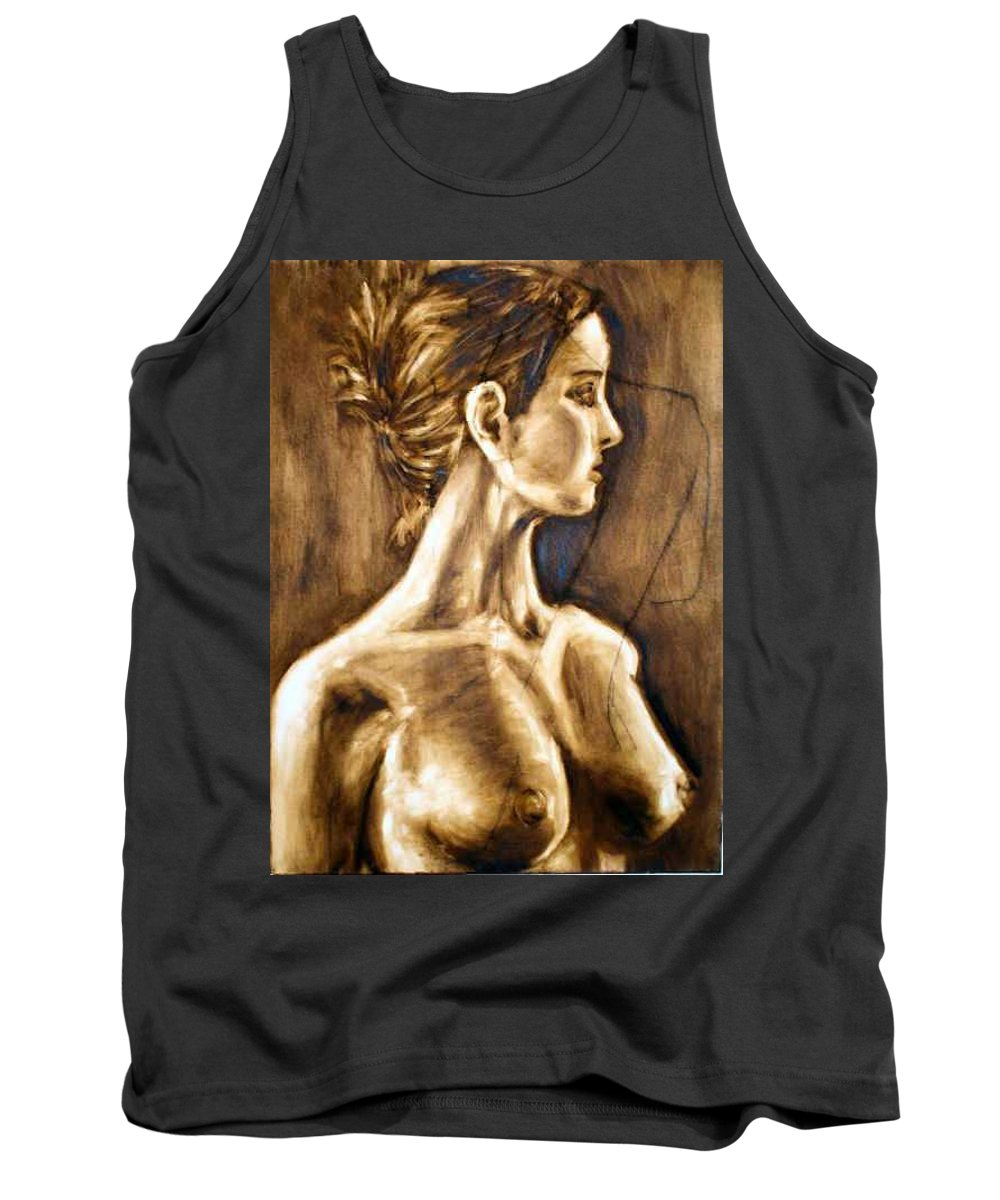 Tank Top featuring the painting Woman by Thomas Valentine