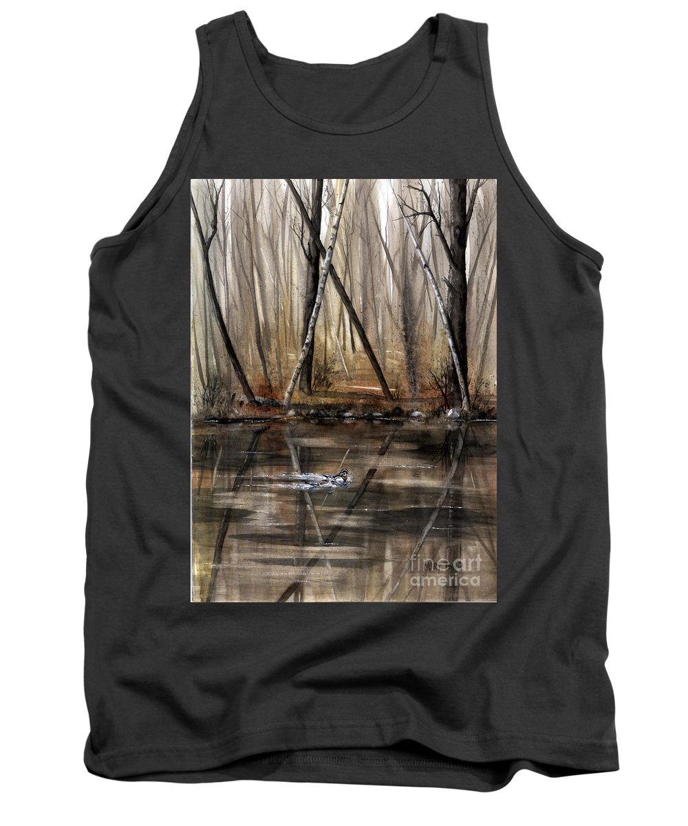 Nature Tank Top featuring the painting Wood Duck On Pond by Mary Tuomi