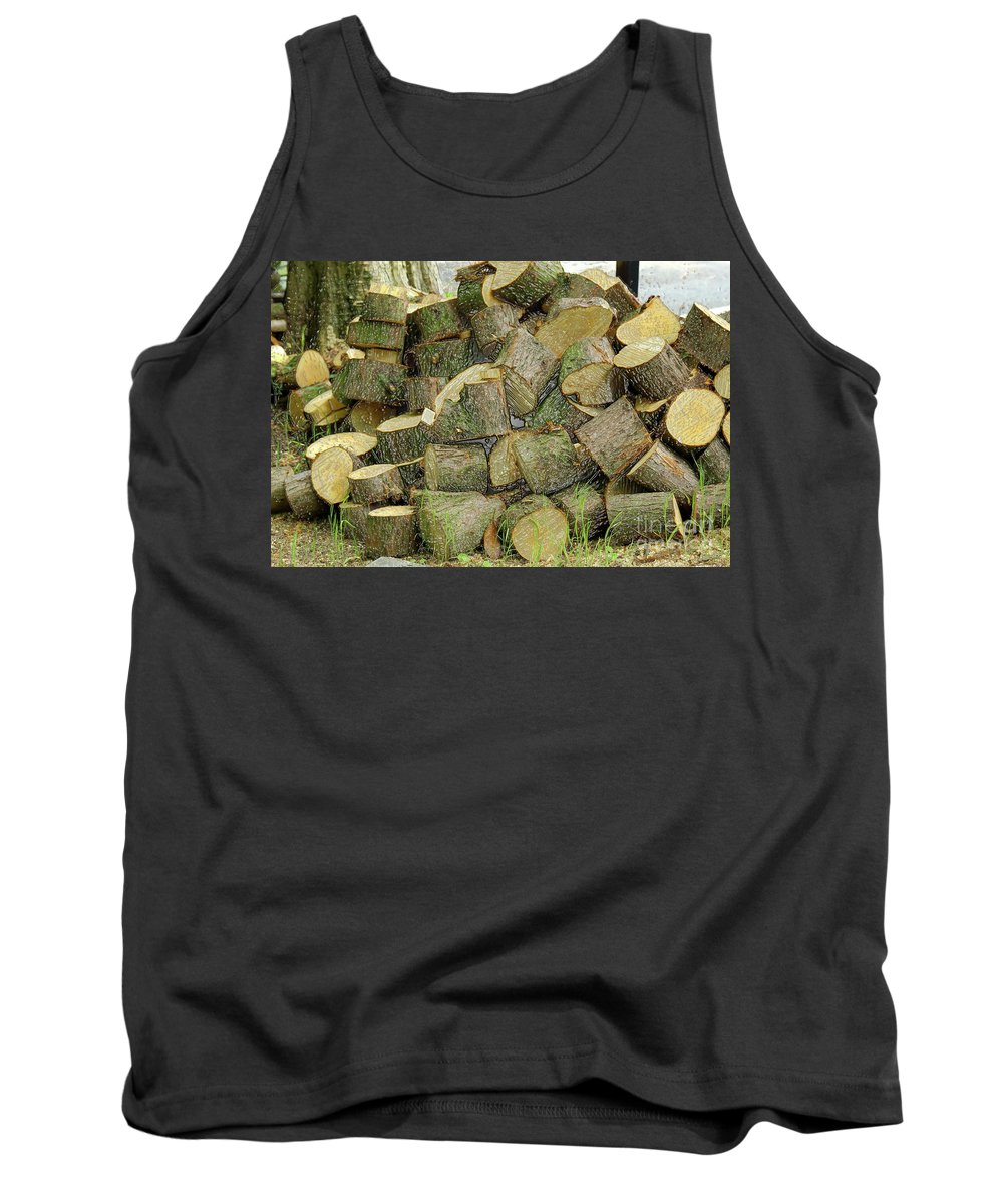 Wood Pile Tank Top featuring the photograph Wood Pile by Kevin Richardson