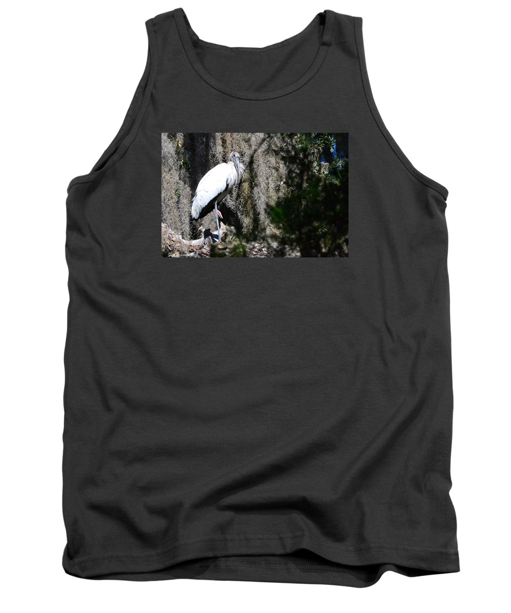 Wood Stork Tank Top featuring the photograph Wood Stork And Moss by Edwina Hughes