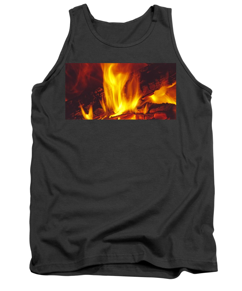 Fire Tank Top featuring the photograph Wood Stove - Blazing Log Fire by Steve Ohlsen